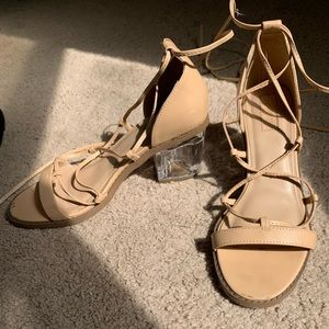 Forever 21 strappy clear block heel